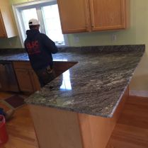 Dark Granite Counter Top in Kitchen